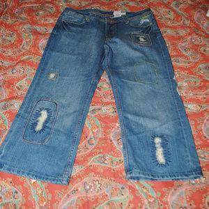 AKDMKS Crop Jeans Sz 32 Distress Embroider Zipper